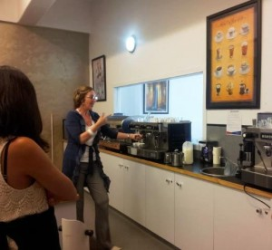 Natalie teaching us how to make a good Coffee