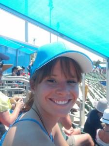 Sonnenschutz und ganz in Australian-Open-Blau