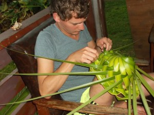 Hat weaving from a Coconut leaf
