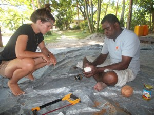 making jewelery from a coconut