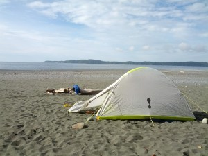 North Coast Trail, Day 1, tent, ocean