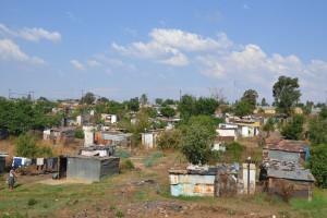 Typische Wellblechhäuser in Soweto