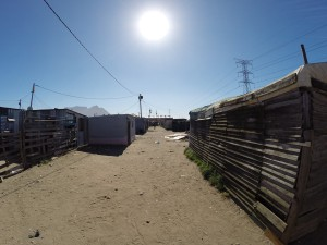 Typische Wellblechhütten in den Townships