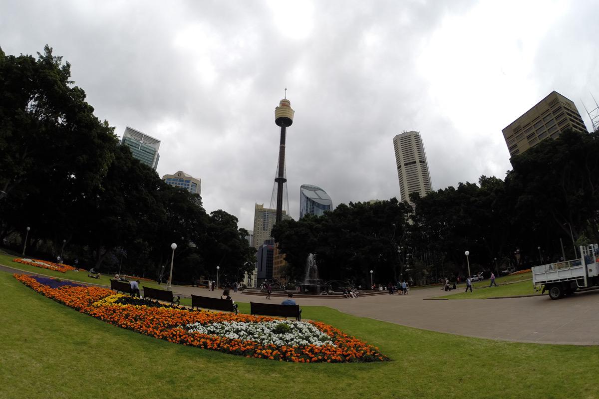 Hyde Park mit Sydney Tower im Hintergrund