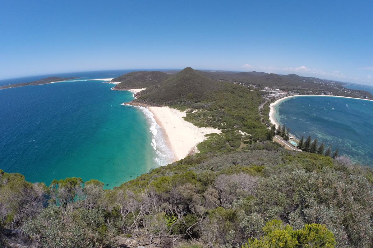 Aussicht vom Tomaree Head auf Port Stephens