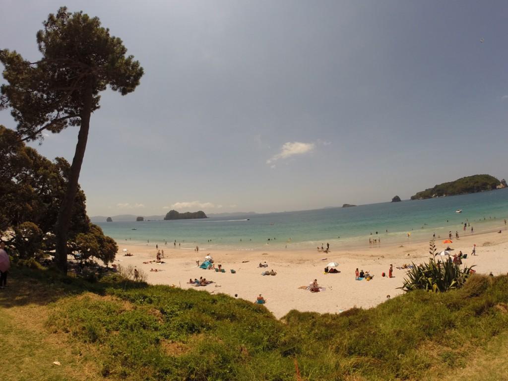 Der wunderschön gelegene Hahei Beach