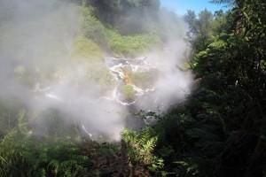 Kochend heißes Wasser entspringt aus der Erde