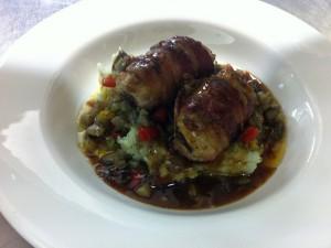 Leckere Chicken-Roulade mit Ratatouille