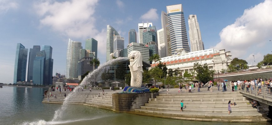 Im Merlion-Park in Singapur